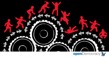 Illustrasjon av arbeidere på tannhjul
