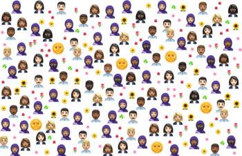 Ulike emojis på hvit bakgrunn