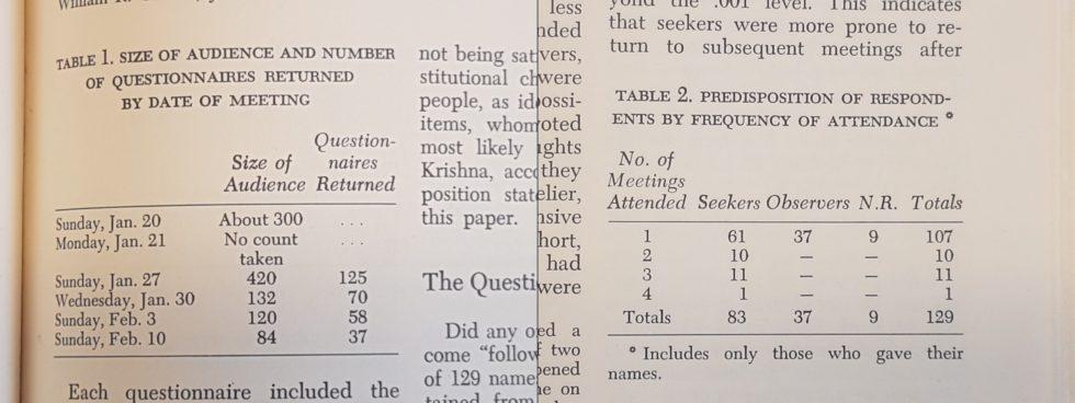 Eksempler på tabeller fra studien av kult-møtene