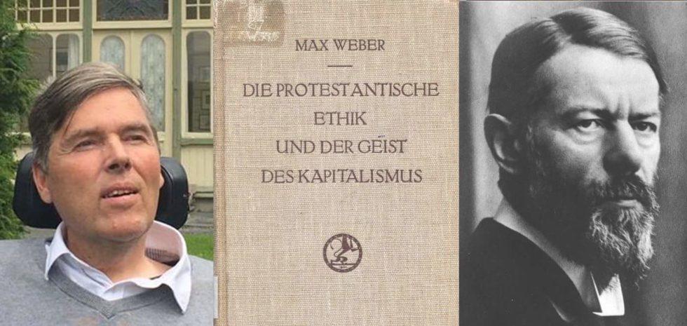Bilde av Atle Møen, bokomslag og portrett av Max Weber