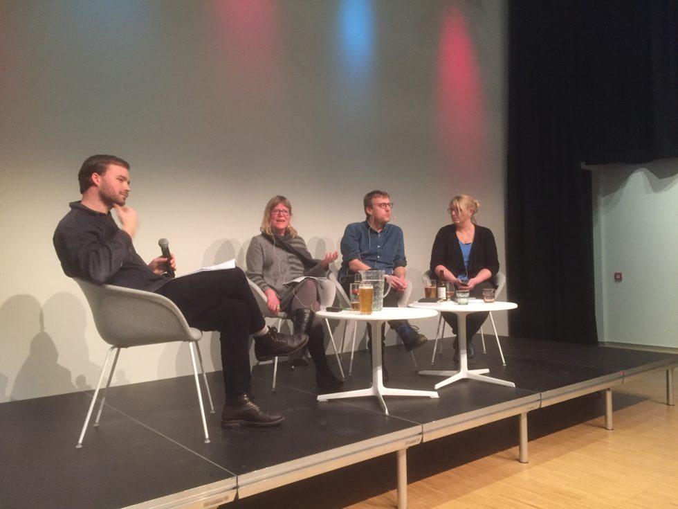 Paneldebatt ledet av (f.v.) Pål Halvorsen, med Mette Andersson, Tore Witsø Rafoss og Berit Skorstad
