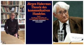 Portrett av Bertillson, omslag av Habermas`bok Theorie des Kommunikativ Handelns og portrett av Habermas