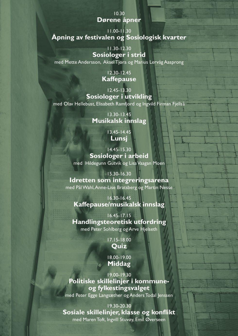 Programmet for Sosiologifestivalen 2019