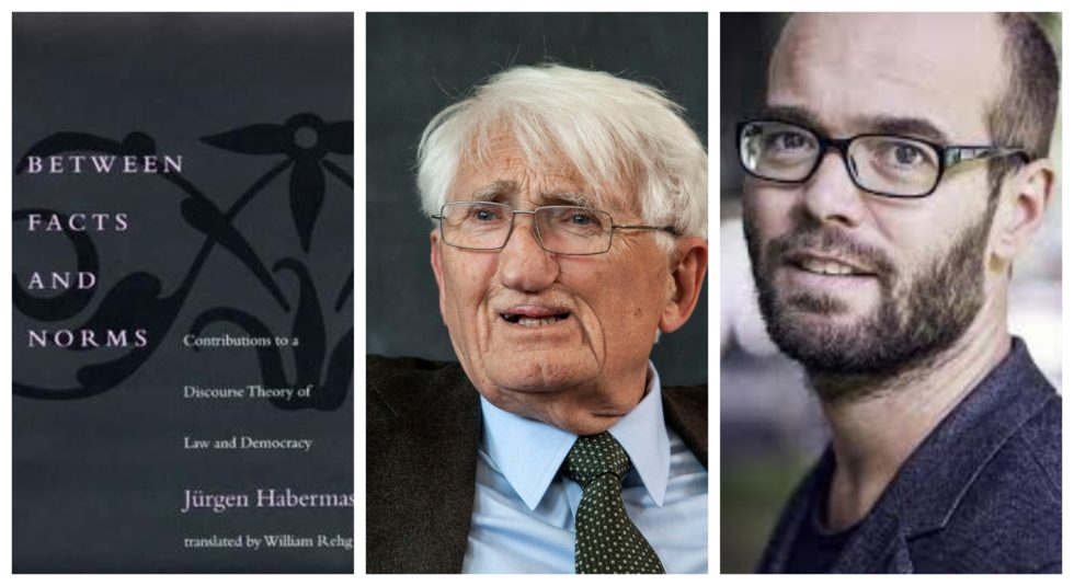 Kollasje Between facts and norms, portrett av Habermas og Gunnar Aakvaag