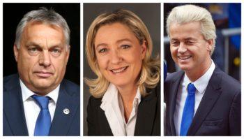 Tre bilder i ett, som viser Geert Wilders, Victor Orban og Marine Le Pen